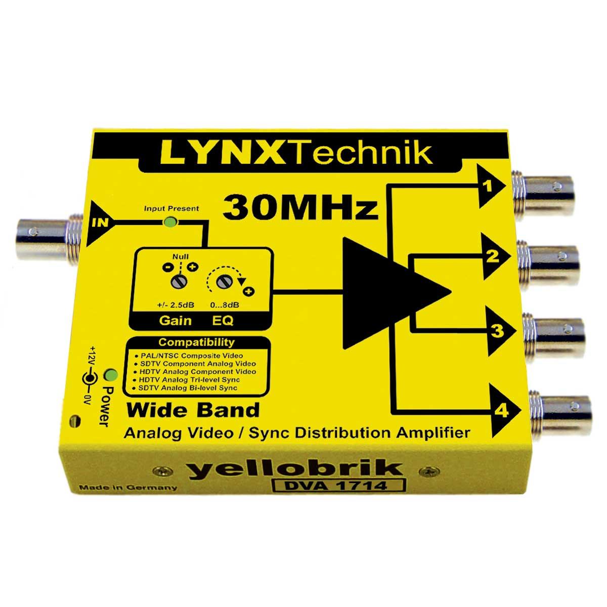 DVA 1714 yellobrik 1 > 4 Analog Video Distribution Amplifier