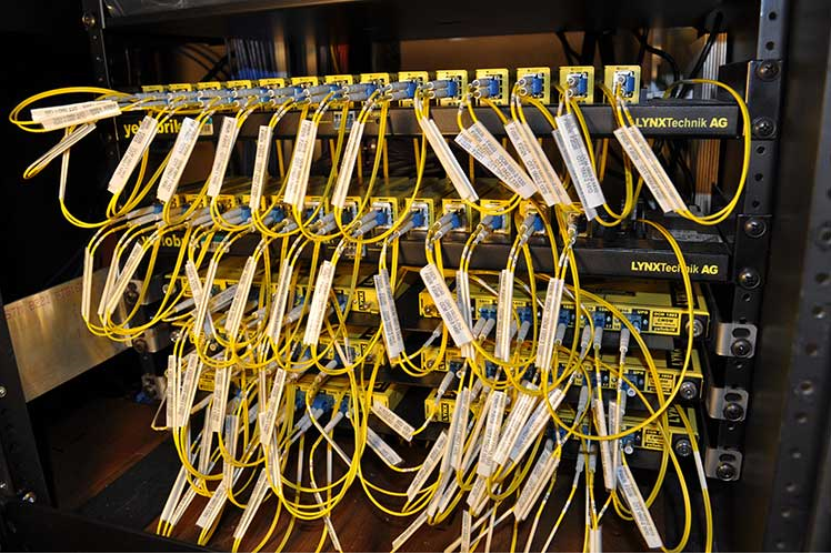 Rack of LYNX Technik yellobrik CWDM Fiber solutions installed in Colorado Studios 37HDX Truck